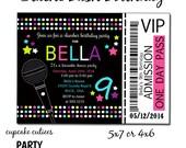 Slumber Party Karaoke Neon  Full Invite  TIcket  Digital Custom Invitation Card  PRINTABLE