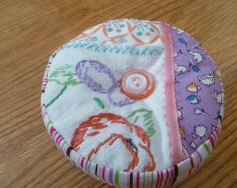 Handmade pincushion, purple and pink