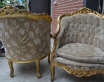 Chairs Antique Bergere Parisian Pair Of Upholstered