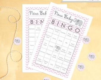 Baby Shower Bingo Includes 30 Elephant Chevron Print Cards - Instant Download
