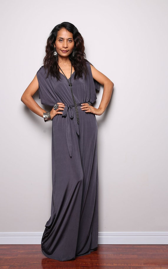 Jumpsuit Grey Jumper Maxi Dress With Kimono Top  Chic By Nuichan