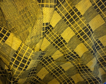 Vintage Golden Yellow  and Black Plaid Knit  Fabric, Vintage Textiles, Vintage Plaid Material, Pittsburgh Steelers Fabric