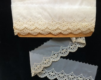 Vintage Sheer Nylon Embroidered Lace, Vintage Lingerie Lace, Doll Clothes Lace, Wedding Lace