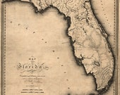 1823 Historic Map of Florida, Miami, Keys, Gulf of Mexico,  on Canvas