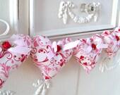 RESERVED~3 Valentine Heart Garland / Glitter Fabric Heart Garland / Valentine Banner / Heart Banner / String Hearts / Red Swirl Fabric /Pink