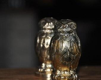 Vintage Pewter Owl Salt & Pepper Shakers