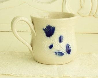 Blue & White Creamer - Stoneware Creamer - Vintage Kitchenware - Pottery Creamer