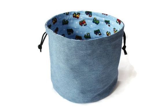 Denim & Train Toy Bag Upcycled Blue Jeans Light Blue Bright Red Train Flannel Boys Medium Bucket Bag Toy Storage - US Shipping Included