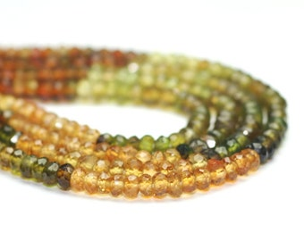 Petro Tourmaline Micro Faceted Rondelles 20 Golden Brown Olive  Semi Precious Gemstone October Birthstone
