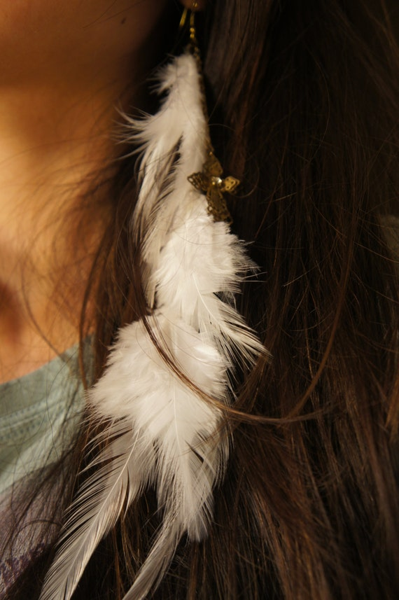CLEARANCE Asymmetrical Heavenly Feather Earring