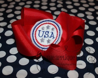 4th of July USA Embroidery Design Machine Applique