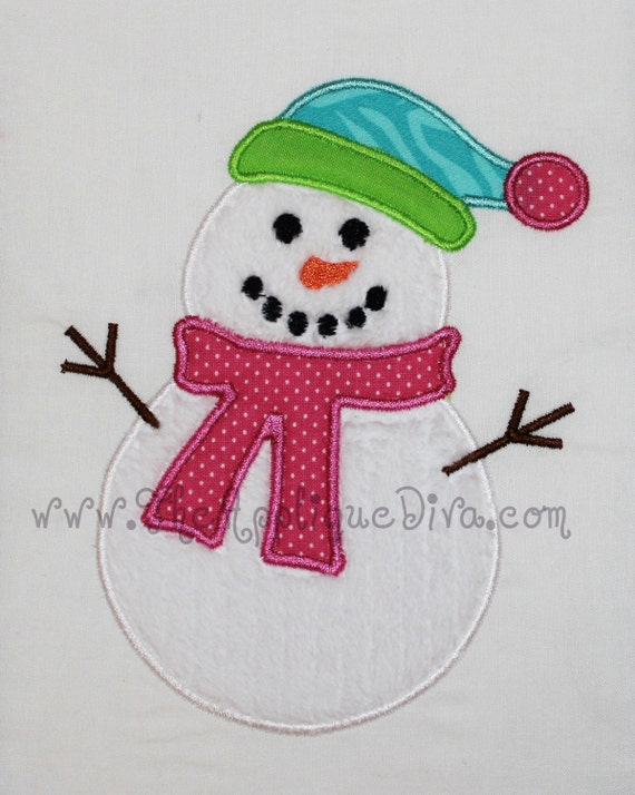 Winter snowman embroidery design machine applique