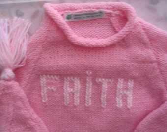 Set 3/6 mos, 6/9 mos Sweater and HatSet w/ 3-Letter Monogram or Name or Initial