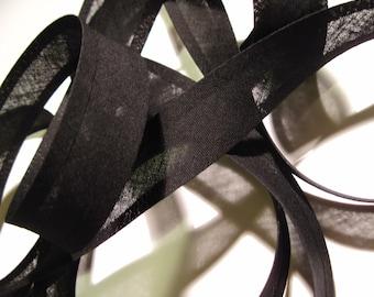 10m x 25mm bias binding tape, black