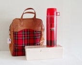 Retro Scotch Plaid Thermos Picnic Set - Red and Black Thermos and Sandwich Box