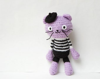 Crocheted Amigurumi Cat, Purple/Violet Cat Stuffed Doll in Black & White Striped Top, Black Pant and Black Béret