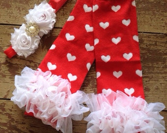 Valentine's Leg warmers and matching headband