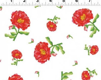 Belle - Tossed Floral Red from Clothworks