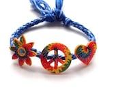 Tye Dye Fun Peace Love Flower Power Charm Friendship Bracelet -BlueTone cotton Hippie Bracelet