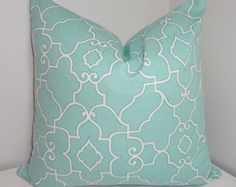 Pale Blue & White Geometric Trellis Pillow Cover Decorative Pillow Cover All Sizes