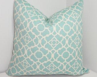 OUTDOOR Waverly Blue Lagoon Lattice Aqua Cream Outdoor Pillow Cover Choose Size