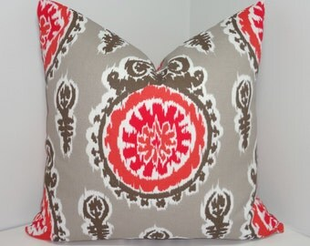 OUTDOOR Pillow Cover Salmon & Taupe Suzani Print Deck Patio Pillow Cover 18x18