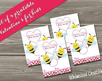 INSTANT DOWNLOAD Kids Valentines Cards, Bees Valentines (Set of 4 - Bee Mine Design) DIY Printable