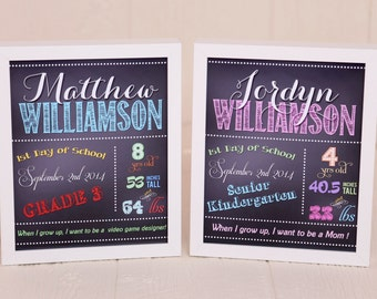 Back to School Printable Sign - Chalkboard First Day of School Photo Prop (Digital File)