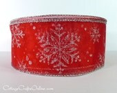"""Christmas Wired Ribbon, 2 1/2"""", Red Sheer with Silver Glitter Snowflakes - THREE YARDS - Morex,  Craft Wire Edged Ribbon"""