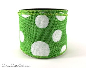 "Burlap Wired Ribbon, 4"" Green White Polka Dot - THREE YARDS  - Offray ""Dixie"",  Christmas, Spring, Easter Craft Wire Edged Jute Ribbon"
