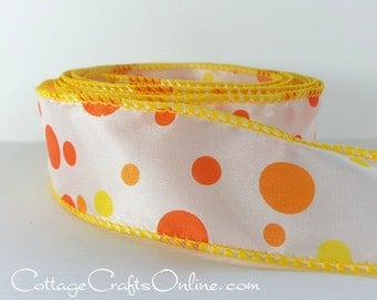 """Wired Ribbon, 1 1/2"""" wide, Orange and Yellow Polka Dots - THREE YARDS - Offray """"Pop Rox"""" Spring, Summer, Craft Decor Wire Edge Ribbon"""