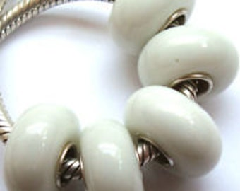 Snow White Solid Handmade Murano Glass Bead European Charm Bracelets
