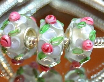 Lampwork Murano Glass Bead White and Pink  European Style Charm Bracelets, European Charm Bracket, Charm Bracelet