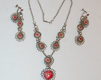 Victorian Jeweled Filigree Necklace & Earring Set Unique Unusual Eyeball Design