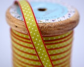 Woven Ribbon Olive green with white dots, 1 cm width, 2 Meters (2.18 yard)