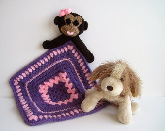 Crochet Granny Square Security Blanket for Baby - Monkey with Pink and Purple Square