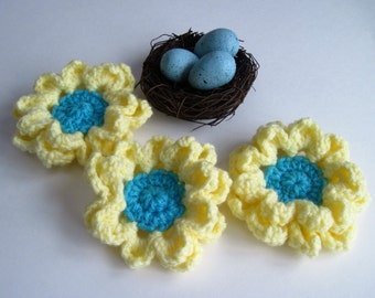 3 Soft Yellow and Aqua Turquoise Pedal Flower Appliques - Set of 3 - Large