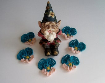 Pansy Crochet Flowers - Aqua Turquoise and Peach Pansies - Set of 6 Embellishment Appliques