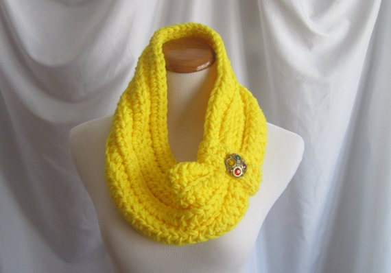 Cowl Chunky Bulky Button Crochet Cowl:  Bright Lemon Yellow with Faux Jewel Button
