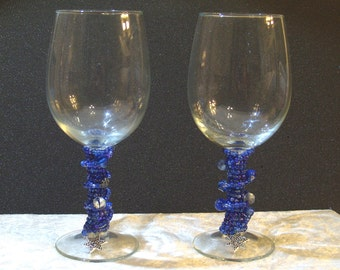 Set of 2 Indigo Blue Beaded Wine Glasses