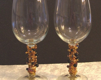 Set of 2 Gold and Black Onyx Beaded Wine Glasses