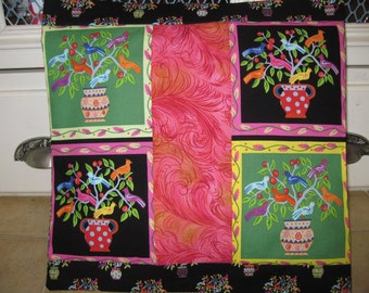 """14"""" x 14"""" PILLOW COVER - Farmer's Garden Nature's Colorful Squares of Tweeting Songbirds in Ceramic Pots"""