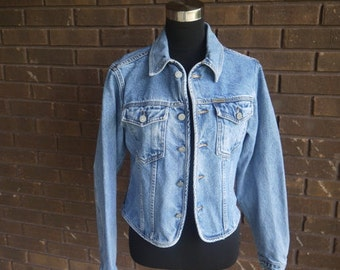 Vintage 80s 90s Denim Jean Jacket Coat Cropped Festival CALVIN KLEIN Stonewash Light Blue / Womens Indie Boho Rocker Classic / XS S
