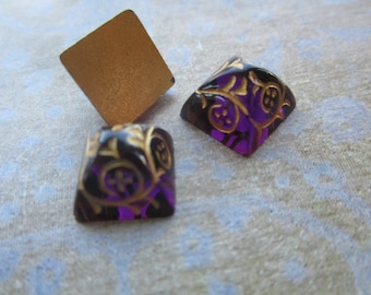 Amethyst And Gold Floral Pyramid Glass Cabs 12x12mm 2Pcs.