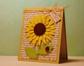 Sunflower Card, Sunflower Birthday Card, Handmade Sunflower , Sunflower Cheer Up Card, Sunflower Get Well Card, Sunshine,  Clean and Simple