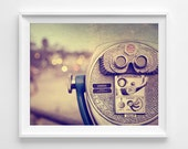 "Retro Beach Photograph Unframed / rainbow bright colorful / telescope boardwalk beach cottage / bokeh abstract distressed / ""Got a Quarter"""
