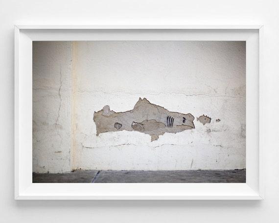 """Street Art Shark Photograph Unframed / street art shark / white grey gray minimal fun / art decor / photography print / """"A Little Snack"""""""