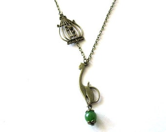 Cat necklace jewelry, birdcage necklace antique brass bronze, cat charm with green stone necklace, vintage victorian style