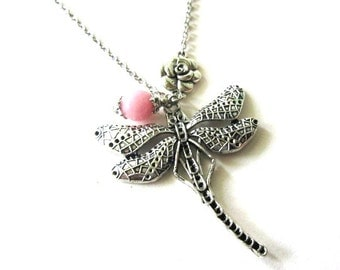 Dragonfly necklace jewelry pink jade necklace vintage style simple necklace pink stone jewelry, antiqued silver dragonfly pendant charm