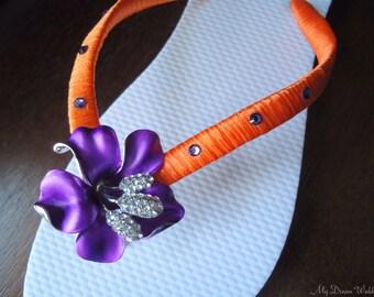 Purple Flip flops. Bridal Orange purple flip flops w Swarovski Crystals. Bridal party, Wedding- PURPLE BLOSSOM Collection 01